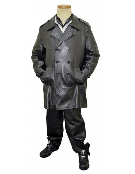 G-Gator Men's Black Double Breasted Buttons Closure Genuine Alligator/Leather Pea Coat