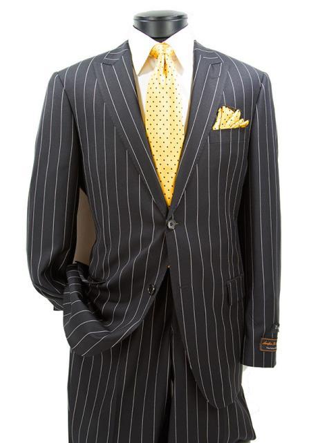 Buy SM4715 Men's 2 Button Modern Fit Peak Lapel Black Pinstripe Pattern Suit