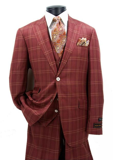 Buy SM4713 Men's Modern Fit Brick 2 Button Peak Lapel Checked Pattern Vested Suit