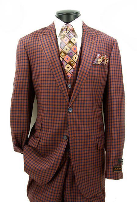 Buy SM4717 Men's Checked Pattern Modern Fit 2 Button Peak Lapel Vested Rust Suit