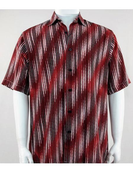 bassiri button down abstract stripe burgundy mens casual shirt
