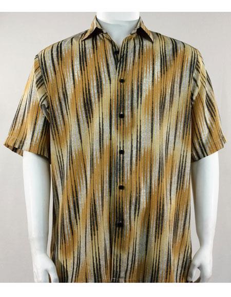 bassiri short sleeve abstract stripe mens casual gold shirt