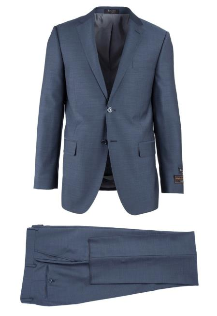 Buy SM4739 Men's Novello Wool Modern Fit Blue Herringbone Pattern 2 Button Luxe Suit