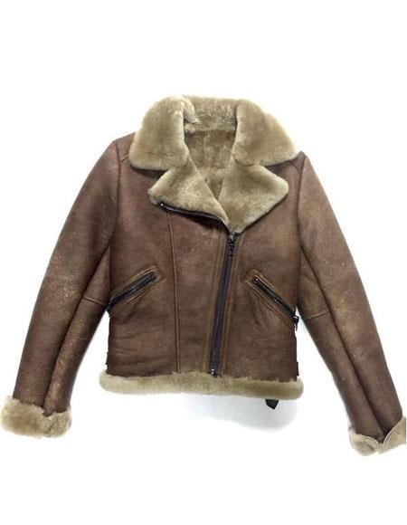 ladies chocolate zipper closure shearling biker bomber jacket