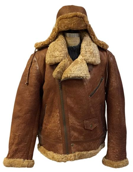 Mens Tobacco Zipper Closure Shearling & Cow Removable Hood Racing Aviator Jacket AP709