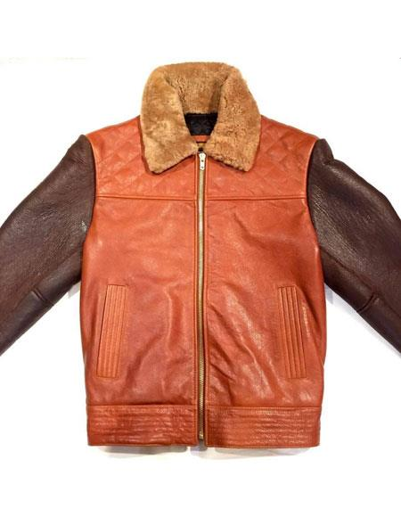 mens brown/cognac alaska bomber shearling zipper closure jacket