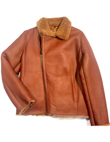 mens cognac asymmetric zipper closure shearling bomber jacket