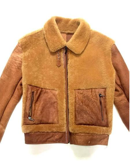 Men's Vintage Style Coats and Jackets Mens Dune Collar Neck Suede Finish Shearling Zipper Closure Bomber Jacket $1,180.00 AT vintagedancer.com