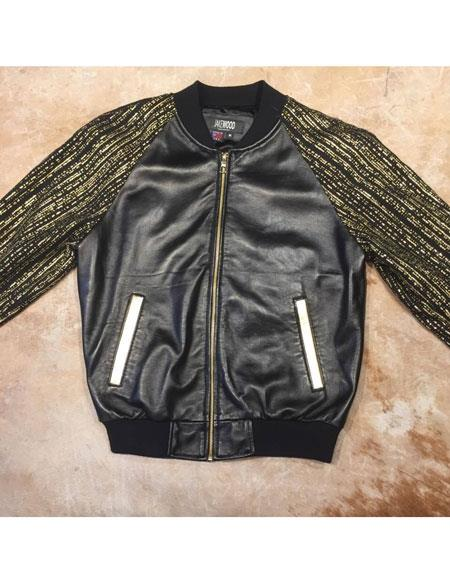 mens black/gold gloss sleek banded collar zipper closure lambskin bomber jacket