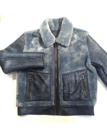 1960s Inspired Fashion: Recreate the Look Mens Powder Blue Zipper Closure Suede Finish Fur Collar Shearling Bomber Jacket $1,200.00 AT vintagedancer.com