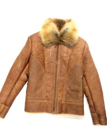 mens zipper closure red fox collar shearling jacket tobacco