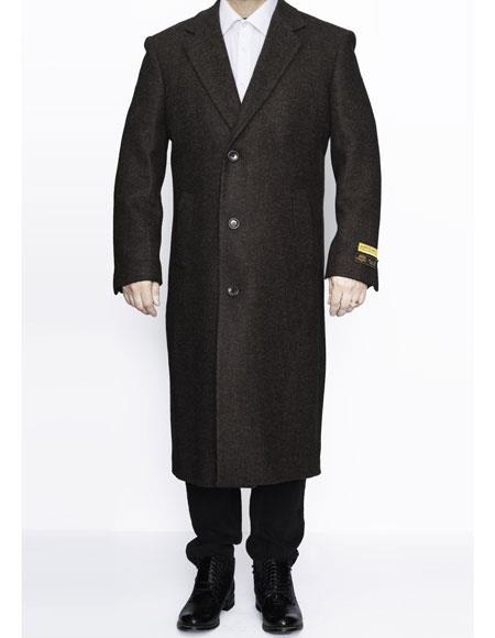 Mens Full Length Wool Dress Top Coat / Overcoat in Brown