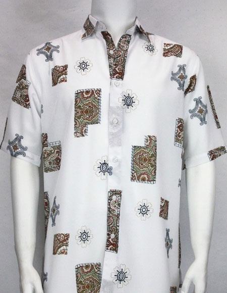 bassiri button down short sleeve mens white fashion shirt
