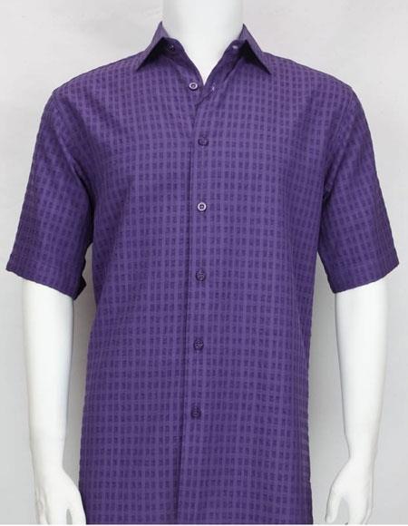 Buy 61081 Bassiri purple button Short Sleeve mens shadow texture shirt