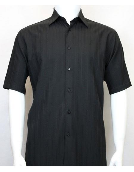 bassiri black short sleeve shadow stripe mens fashion shirt