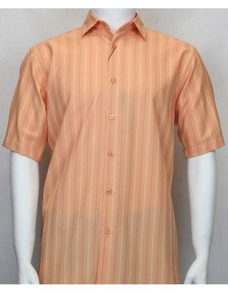 bassiri short sleeve shadow stripe mens fashion coral shirt