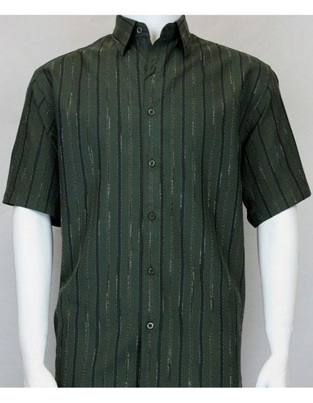 bassiri short sleeve shadow stripe mens hunter fashion shirt