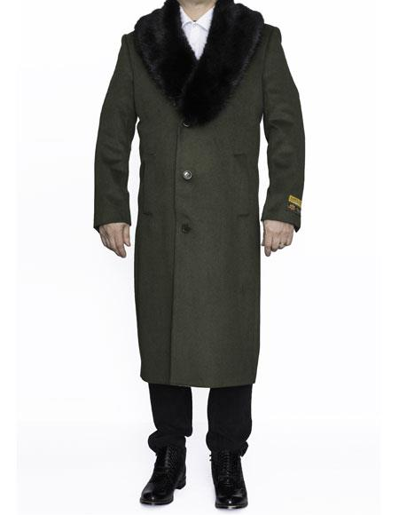 Mens Removable Fur Collar Full Length Wool Dress Top Coat / Overcoat in Olive Green