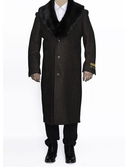 1960s Men's Clothing, 70s Men's Fashion Mens Removable Fur Collar Full Length Wool Dress Top Coat  Overcoat in Brown $249.00 AT vintagedancer.com