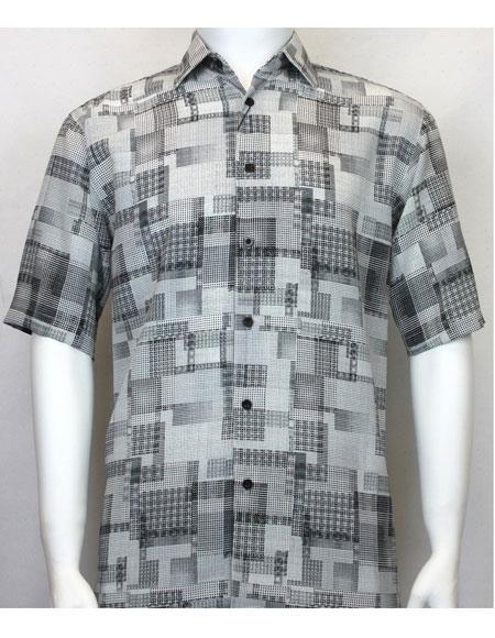 bassiri grey button down squares print mens fashion shirt