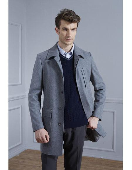 Buy CH1865 Mens Single Breasted Wool Blend Grey Lightweight Overcoat ~ Topcoat