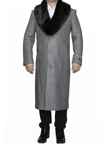 Mens Removable Fur Collar Full Length Wool Dress Top Coat / Overcoat in Light Grey Authentic Reg:$700 Designer Alberto Nardoni Brand now on Sale