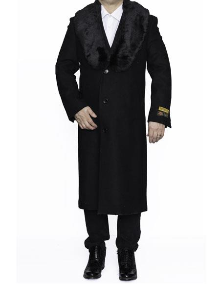 Mens Removable Fur Collar Full Length Wool Dress Top Coat / Overcoat in Black Authentic Reg:$700 Designer Alberto Nardoni Brand