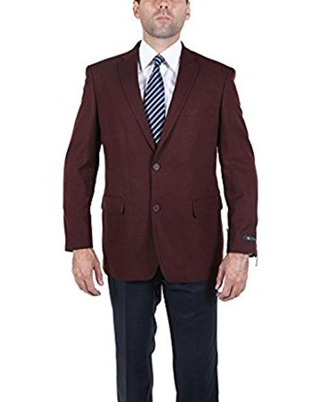 1960s Men's Clothing, 70s Men's Fashion Men s Classic 2 Button Burgundy Blazer Suit Jacket $125.00 AT vintagedancer.com