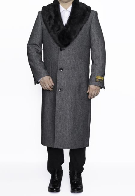 Men's Vintage Style Coats and Jackets Mens Removable Fur Collar Full Length Wool Dress Top Coat  Overcoat in Grey Herringbone $249.00 AT vintagedancer.com