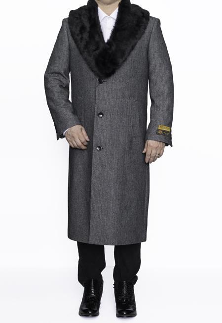 1920s Mens Coats & Jackets History Mens Removable Fur Collar Full Length Wool Dress Top Coat  Overcoat in Grey Herringbone $249.00 AT vintagedancer.com