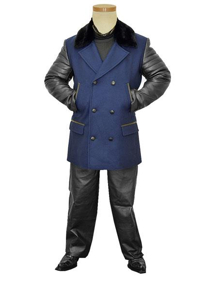 G-Gator Men's Double Breasted Genuine Leather/Wool Navy Blue Pea Coat