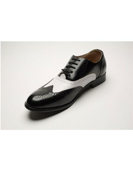 1950s Mens Shoes: Saddle Shoes, Boots, Greaser, Rockabilly Mens Two Toned Black  White Lace Up Wingtip Style Dress Shoes $75.00 AT vintagedancer.com