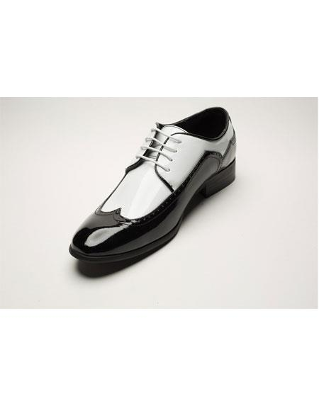 1950s Mens Shoes: Saddle Shoes, Boots, Greaser, Rockabilly Mens Two Toned BlackWhite Wingtip Fashion DressShoes $75.00 AT vintagedancer.com