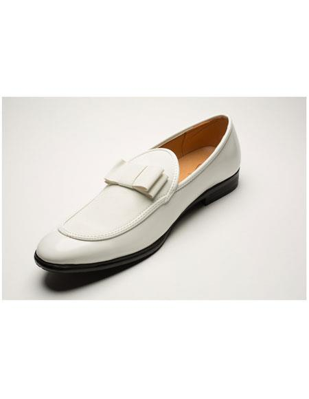 men's fashionable bow tie tuxedo white loafer shoes