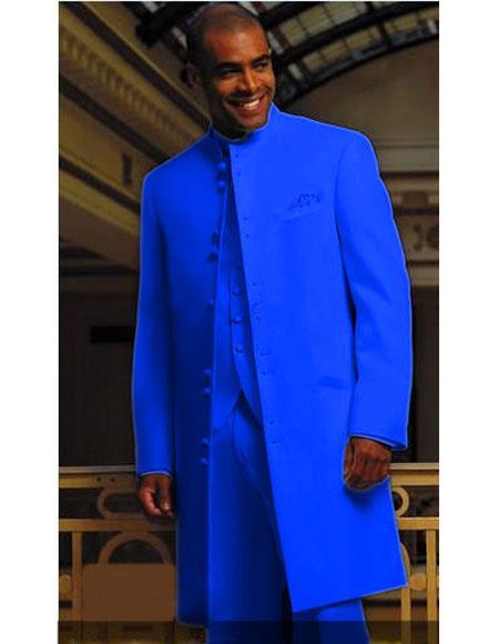 Buy MUHMA45GA Mens Royal Blue Matrix Style 45 Inch Full Length Mandarin Collar 10 Button (5 X 2 Pair)