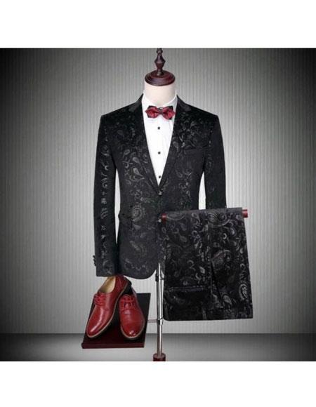Mens Black 2 Button Floral Print Bar Coat 2 Piece Suit Blazer