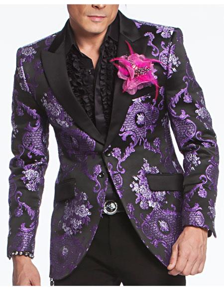angelino brand mens purple satin peak lapel woven fabric buttons closure floral pattern fashion blazer