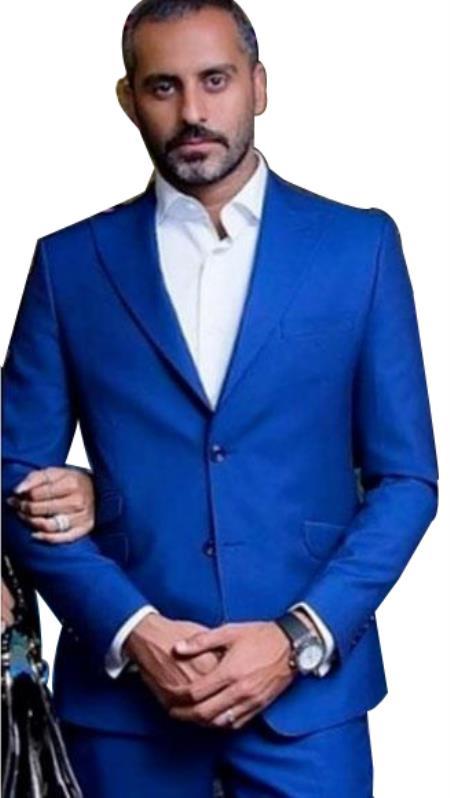 Alberto Nardoni Dark Royal Blue ~ Indigo ~ Bright Blue ~ Cobalt blue 2 Button 3 Pieces Vested Dress Suits for Men Notc