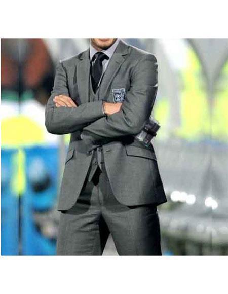 Men's David Beckham Single Breasted Notch Lapel Grey 2 Button Suit