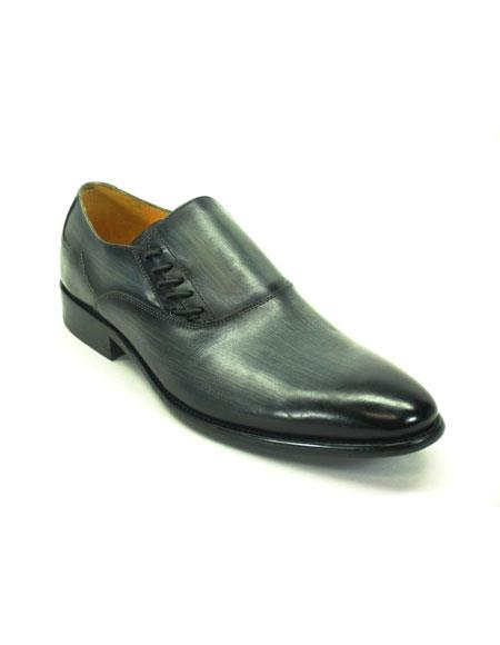 men's carrucci gray slip-on loafer with decorative lace-up shoes