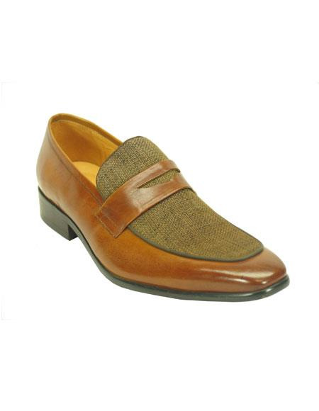 Men's 1950s Shoes Styles- Classics to Saddles to Rockabilly Mens Carrucci Slip On Denim Leather Cognac Fashionable Loafer $125.00 AT vintagedancer.com