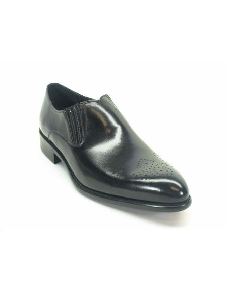 men's carrucci wingtoe black fashionable leather loafer