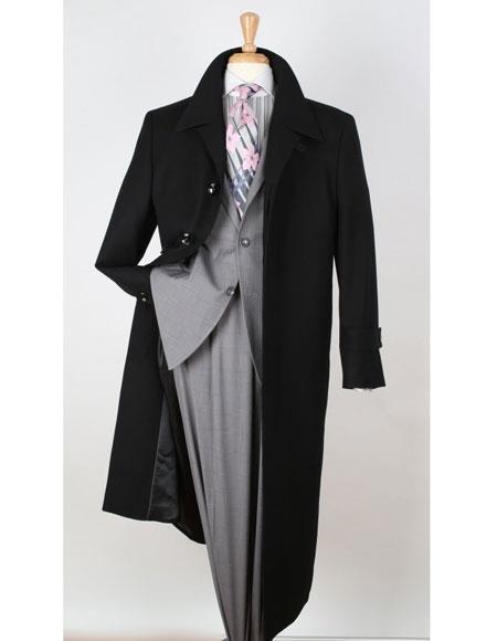 Apollo King Mens Big & Tall Wool Gabardine Black Top Coat - Duster Coat Style