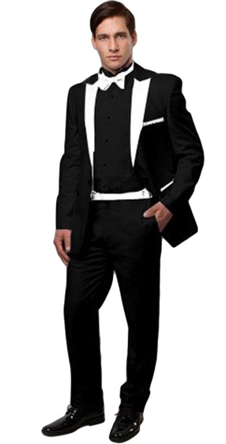 Slim Black And White Tuxedo ~ Tux > With White Lapel + Vested 3 Pieces Black Vest & Black Pants Wedding / Prom / Groom / Vintage Look