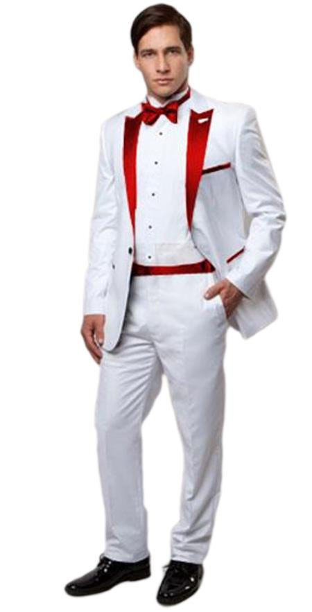 Slim Tux white with red lapel
