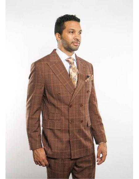 Men's Vintage Style Suits, Classic Suits Mens Plaid Blazer 2 Breasted Brown Peak Lapel Button Closure Suit $169.00 AT vintagedancer.com