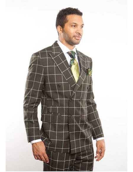 Retro Clothing for Men   Vintage Men's Fashion Mens Double Breasted Peak Lapel DarkGreen Plaid Windowpane Blazer Suit $169.00 AT vintagedancer.com