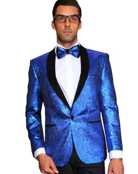 Mens Alberto Nardoni 1 Button Shiny Shawl Lapel Party Tuxedo Dinner Jacket in Royal Blue