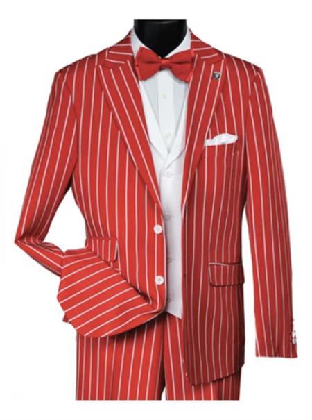 Men's Dark Red & White Pinstripe 2 Button Vested Suit