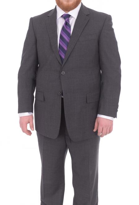Buy SM4904 Men's Portly Fit Charcoal Gray Checked Pattern 2 Button Super 130's Wool Suit